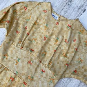 Vintage 60s 70s Floral Basket Weave  Maxi Dress